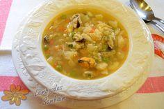 Lamboadas de Samhaim: Sopa de merluza y mejillones