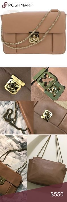 """Large Elise Bag Beautiful Condition Dual suspension jewelry-like rope chain shoulder strap; converts from 6""""-12"""" drop. Front flap secured by tinker-style turn-lock closure. Structured rectangular body. Inside, open pocket. 8 1/4""""H x 10 1/2""""W x 4""""D. Made in Italy. Chloe Bags Shoulder Bags"""