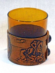 Don Quijote Spanish Goats Leather Amber Shot Glass and Holder Made in Spain