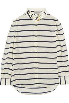 Preen by Thornton Bregazzi Breton striped silk crepe de chine shirt | NET-A-PORTER