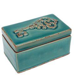 Buttercream™ Cosette Collection Key Ceramic Box-Turquoise