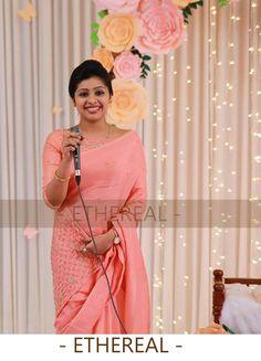 New Saree Blouse Designs, Half Saree Designs, Saree Blouse Patterns, Fancy Sarees, Party Wear Sarees, Baptism Dress For Mom, Christian Bridal Saree, Simple Frocks, Function Dresses