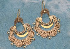 Portuguese VIANA MOON EARRINGS       gold plated sterling silver