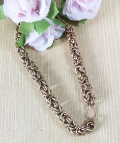 Brass Byzantine Bracelet Micromaille Bracelet by RoseBriarDesigns