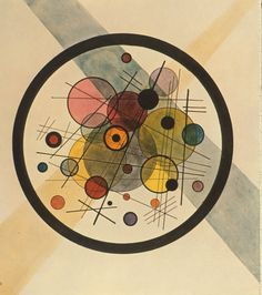 I send you a work around the circle from a painting by Kandinsky! The great circle was drawn by ATSEM Using lids of different sizes, the children freely traced the inner circles They then painted in ink . Wassily Kandinsky, Kandinsky Prints, Paul Klee, Abstract Words, Abstract Art, Abstract Landscape, Ecole Art, Kunst Poster, Art Plastique