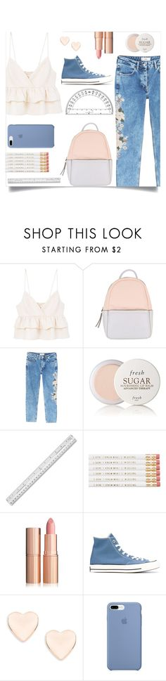 """Blue and White Back To School Set"" by clarinetist14 ❤ liked on Polyvore featuring MANGO, Calvin Klein, Fresh, Converse and Ted Baker"