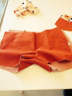 Process shorts, making the pockets.