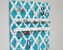 Wall-Hanging Jewelry Organizer - Necklace Hanger - Earring Holder -- Turquoise Lattice