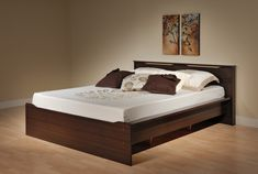 Wood Bed Frame with Light Brown Bedroom