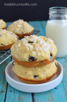 Easy coconut muffin tops made with chocolate chunks will disappear every time