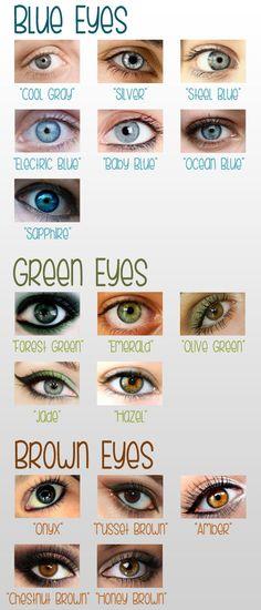 """Augenfarben mit """"Namen"""""""