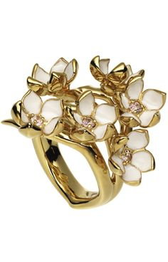 fe6b96da3340 Shaun Leane - Silver and Gold Vermeil Full Cherry Blossom Ring with Topaz