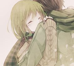 cute anime girl holding her boyfriend and a tight hug to feel the moment in his arms tumblr romantic couple hug