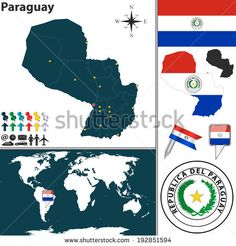 Vector map of Paraguay with regions, coat of arms and location on world map