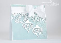 Natalja Li: Memory Box Snowflake Ornament and Frostyville Border craft dies Christmas Cards To Make, Noel Christmas, Xmas Cards, Handmade Christmas, Holiday Cards, Paper Cards, Diy Cards, Winter Karten, Memory Box Cards