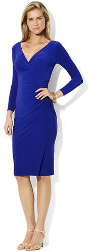 Size 8 Wish List Lauren Ralph Lauren Jersey Long Sleeve Dress Cannes Blue/navy blue/Lauren by Ralph Lauren Long Sleeve Faux-Wrap Sheath Dress