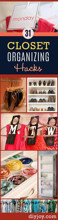 DIY Closet Organizing Tips - DIY Closet Organization Ideas for Messy Closets and Small Spaces. Organizing Hacks and Homemade Shelving And Storage Tips for Garage, Pantry, Bedroom., Clothes and Kitchen (Diy Organization Ideas) Organisation Hacks, Organizing Hacks, Small Closet Organization, Diy Organization, Clothing Organization, Hacks Diy, Konmari, Closet Hacks, Closet Ideas