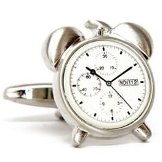 """Silver Alarm Clock Time Cufflinks Cuff Links Silver Smith Cufflinks. $33.88. Free Gift Wrapping with each order!. Approximately 3/4"""" x 1/2"""". Comes packaged in a Limited Edition Collectors Storage Box!"""