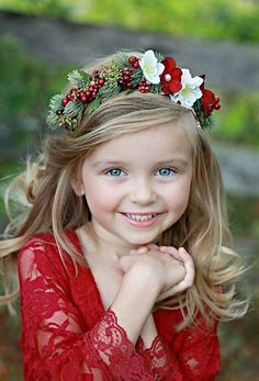 Flower Crown - Christmas Halo- Wedding - Newborn Photo Prop - Wedding Crown - Floral Hairpiece