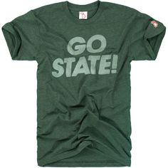 Go right through for MSU,  Watch the points keep growing,  Spartan teams are bound to win,  They're fighting with a vim!  Rah! Rah! Rah!   Michigan Agricultural College became a state university in 1925. Go State!  Designed and Printed in Michigan by The Mitten State. Made in the USA.