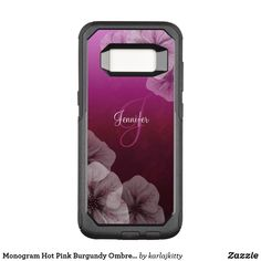 Shop Monogram Hot Pink Burgundy Ombre Floral OtterBox Samsung Galaxy Case created by karlajkitty. Pale Pink, Hot Pink, Ombre Background, Burgundy Flowers, Flower Frame, Electronic Music, Galaxies, Initials, Custom Design