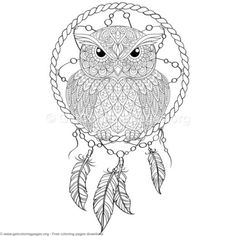 2 Owl Dream Catcher Coloring Pages