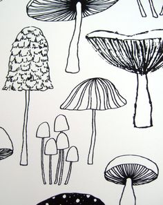 Mushrooms limited edition giclee print от EloiseRenouf на Etsy