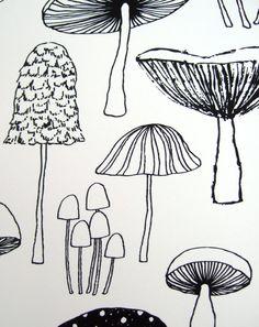 Mushrooms limited edition giclee print от EloiseRenouf на Etsy