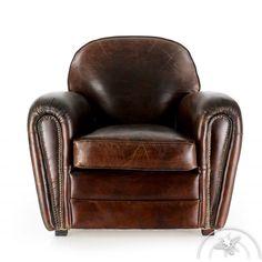 Fauteuil Club cuir noir cuir de vachette