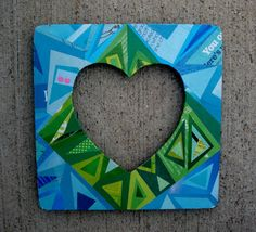 Recycled Decoupage Magazine Heart Frame by crazyaboutgreen on Etsy, $25.00