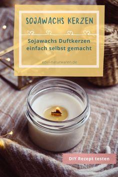 Lust auf DIY? Dann schau dir hier meine DIY Anleitung an, wie einfach man Duftkerzen mit Sojawachs, einem ätherischen Öl nach Wahl und ein paar getrockneten Blüten oder Kräutern selber machen kann. Dazu sind Kerzen aus Sojawachs deutlich umweltfreundlicher als gekaufte Kerzen, die meist Paraffin oder Stearin enthalten.DIY Duftkerzen sind eine schöne Geschenkidee! #edel-naturwaren.de Candle Jars, Candles, Recycling, German, Inspiration, Beauty, Food, Valentine Gift For Him, Gift For Boyfriend