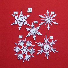 PDF Patterns for 5 Crocheted Snowflakes set 22 by TheNeedleWorks