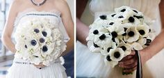 white brown #anemone bouquet