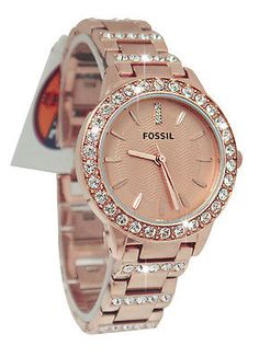 Fossil ES3020 Jesse Rose Gold Dial Stainless Steel Bracelet Women Watch NEW