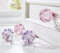 Crystal Ornament Knobs... love these to add a little flare instead of the standard manufacturer ones... Pottery Barn.. $24.41 CAD for a set of 2.. not bad!! & Ciyennah's bedroom set is white too.. perfect!