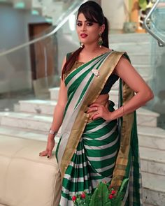 In a green & white color stripes saree and sleeveless blouse design Beautiful Girl Indian, Beautiful Girl Image, Most Beautiful Indian Actress, Beautiful Saree, Beautiful Actresses, Indian Beauty Saree, Indian Sarees, Beauty Full Girl, Beauty Women