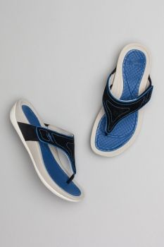 893d09d872c Dansko Katy 2 Thong Sandal  Black Cobalt Suede Leather