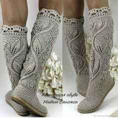 Women's fashion- Женская мода Knitting // Elena Rabtsova - - Mode masculine, formes de style et astuces vestimentaires Crochet Slipper Boots, Crochet Slipper Pattern, Crochet Sandals, Knitted Slippers, Crochet Patterns, Mode Crochet, Knit Crochet, Knitting Socks, Hand Knitting