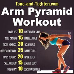 Best arm pyramid workout routine, exercise plan to tone and tighten your arms. Make this your fitness challenge and get the body you want. Ab Workout At Home, At Home Workouts, Cardio, Pyramid Workout, Fitness Herausforderungen, Health Fitness, Weekly Workout Plans, Workout Bauch, Physique