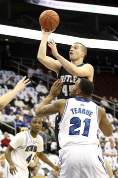 Andrew Chrabascz of the Butler Bulldogs attempts a shot in the first half against Gene Teague of the Seton Hall Pirates Bulldogs Basketball, Basketball Teams, College Basketball, Butler Basketball, Butler Bulldogs, College Life, Espn, Pirates