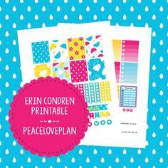 Rainy Day Erin Condren Planner Printable - Weekly Set, Happy Planner Stickers, PDF Instant Download