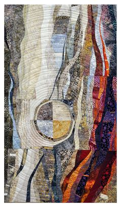 MUTUAL ATTRACTION quilt by Hilde Morin, Curved piecing commercial fabrics, hand dyes, machine quilted Fiber Art Quilts, Textile Fiber Art, Textiles, Needle Felted, Nuno Felting, Quilt Modernen, Architecture Tattoo, Contemporary Quilts, Quilting Designs