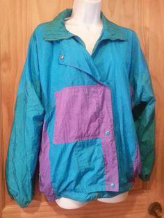 4e81d67a79b5b Items similar to Vintage 80s Baggy Colorblock Aqua Purple Asymmetric  Windsuit Windbreaker Jacket Size M on Etsy