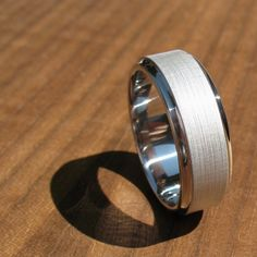 "Men's Wedding Band Titanium ""Brushed Koenig"" by spexton on Etsy https://www.etsy.com/listing/76257082/mens-wedding-band-titanium-brushed"