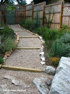 Hillside gravel and timber path (stair stepping can be removed and just the path idea used)