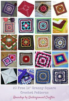 Crochet Granny Square Patterns Roundup: 20 free cm) granny square crochet patterns via Underground Crafter Crochet Motif Patterns, Crochet Blocks, Crochet Squares, Crochet Granny, Free Crochet, Crochet Borders, Easy Crochet, Free Knitting, Crochet Lace