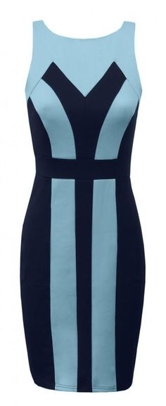 Blue Panel Body Con Dress - ♥ Towie Bling The only way is Essex ♥