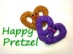Happy Pretzel Tutorial by feelinspiffy (Rainbow Loom) Rainbow Loom Tutorials, Rainbow Loom Patterns, Rainbow Loom Creations, Rainbow Loom Bands, Rainbow Loom Charms, Rainbow Loom Bracelets, Loom Band Charms, Loom Band Bracelets, Rubber Band Crafts