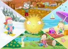 the 4 seasons Teaching Weather, Preschool Weather, Seasons Chart, Four Seasons, Science Art, Science And Nature, Seasons Activities, School Murals, Weather Seasons