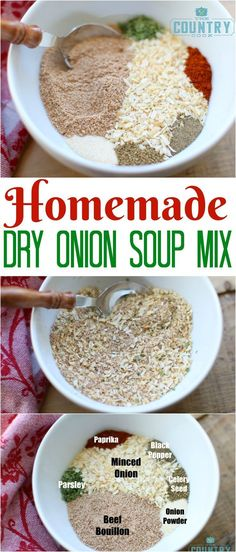 Homemade Dry Onion Soup Mix recipe from The Country Cook. This recipe makes exactly the amount you need to substitute for one packet of Dry Onion Soup Mix! Perfect substitute for recipes!